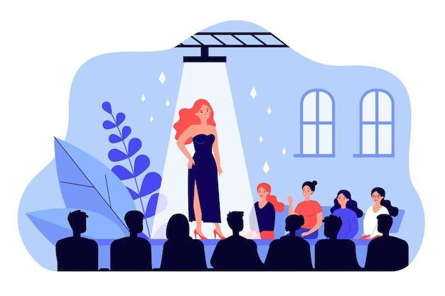 Female catwalk model showing fashionable dress flat  illustration. happy audience crowd sitting near stage and watching show. fashion runway exhibition and entertainment concept