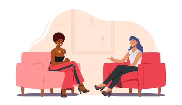 Female celebrity character giving interview to television presenter
