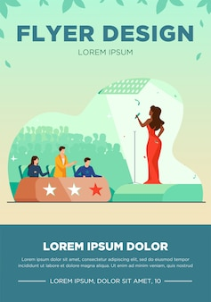 Female celebrity woman signing in front of jury flat vector illustration. young singer standing on scene or stage and performing at tv talent show. competition and television contest concept