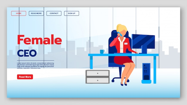 Female ceo landing page vector template