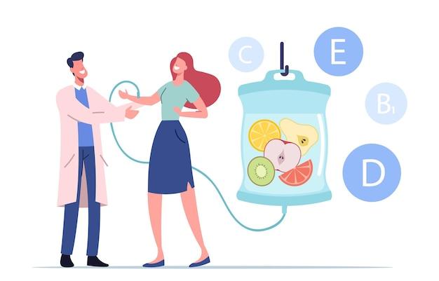 医師の支援を受けて病院または診療所でスポイトを介して天然栄養素の静脈内注入を適用する女性キャラクター
