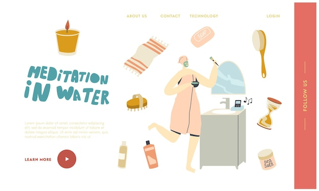 Шаблон целевой страницы для расслабления в ванне с женским персонажем