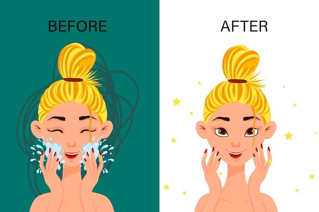 Женский персонаж «до» и «после» косметической процедуры. мультяшный стиль.