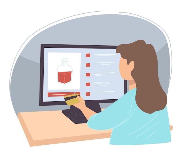 여성 캐릭터가 웹에서 검색하고 온라인 상점에서 구매할 제품을 선택합니다. 가게에서 알코올 음료를 찾는 여자. 신용 카드를 사용하여 제품 비용을 지불하는 쇼핑 아가씨. 평면 스타일의 벡터