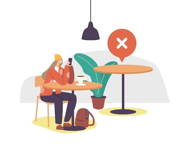 Female character in cafe or restaurant at coronavirus outbreak waiting order chatting by mobile phone with empty table nearby. social distance and new normal after covid. cartoon vector illustration