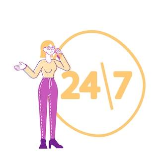 カスタマーサポートサービスのテクニカル受付係への女性キャラクターの電話