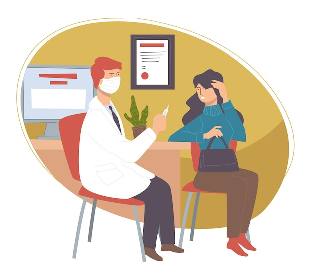 병원이나 진료소의 의사에게 여성 캐릭터 컨설팅. 두통이 있는 여성은 의사와 상담하고 전문가의 조언과 조언을 받습니다. 인플루엔자 또는 코로나바이러스. 평면 스타일의 벡터