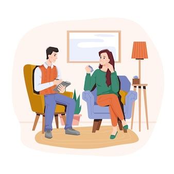 여성 캐릭터가 울고 심리학자 사무실 내부 심리 치료 및 정신과 이야기