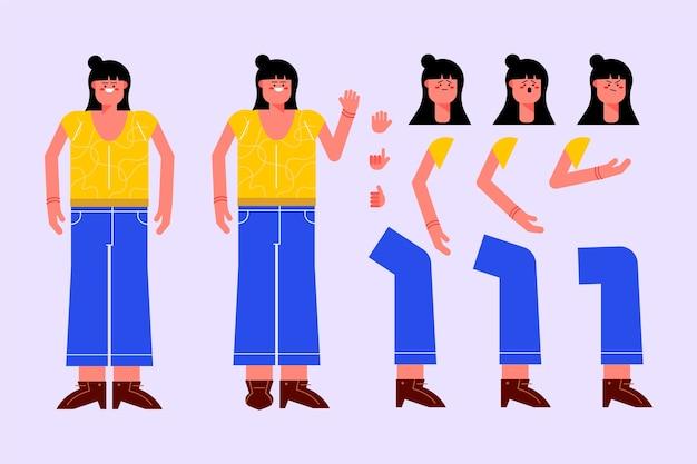 女性キャラクターのさまざまなポーズ