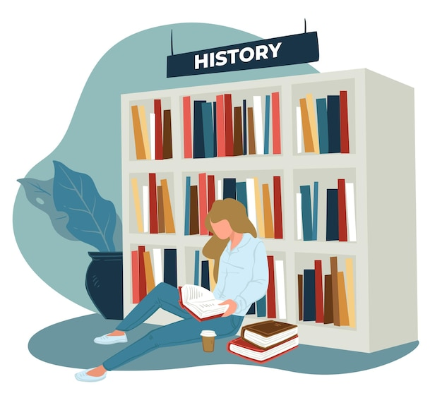 古代の歴史書や出版物を楽しむ女性キャラクター。さまざまな科学教科書を備えた図書館または店舗。床にコーヒーカップを持つ学生または本の虫。フラットスタイルのベクトル