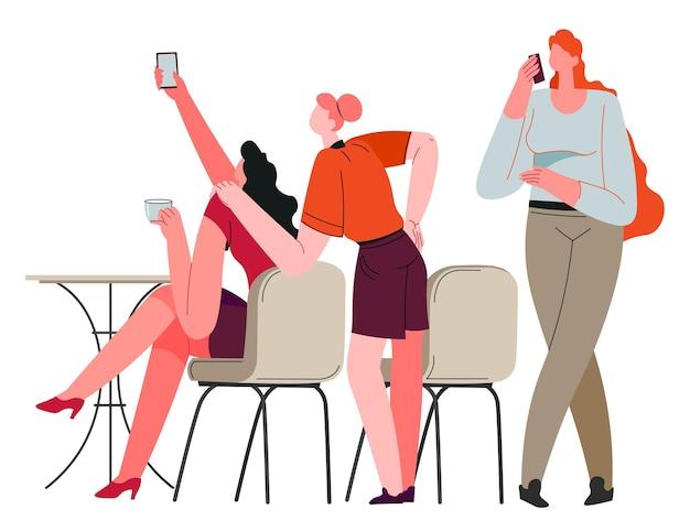 女性キャラクターが集まって週末や自由な時間を一緒に過ごす。レストランやカフェで自分撮りをしている女性。テーブルのそばに座って、おしゃべりをし、コミュニケーションを楽しんでいる人々。フラットスタイルのベクトル