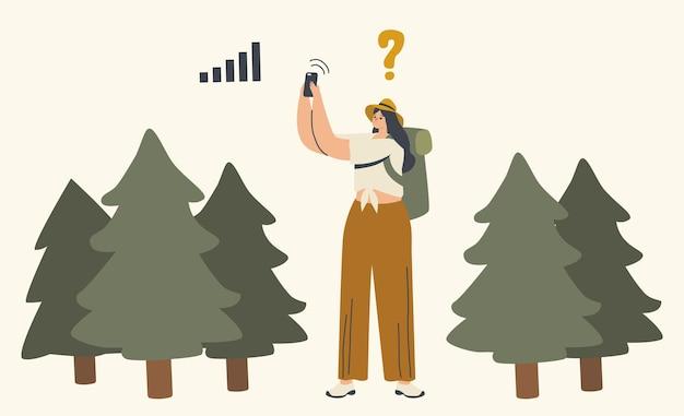 女性キャラクターは森で迷子になります。スマートフォン衛星ナビゲーションアプリを使用して方向を検索する女性。アウトドアアドベンチャー、ハイキングレクリエーション、夏休みの旅行。線形ベクトル図