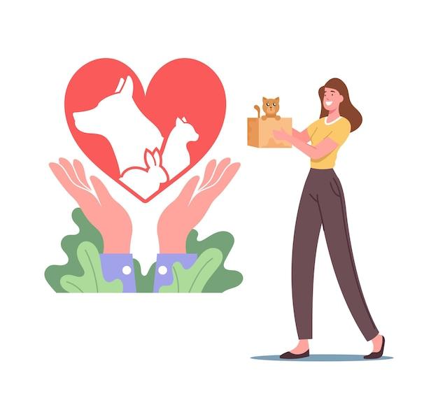 Женский персонаж держит маленького котенка в картонной коробке возле символа сердца. уход за животными, концепция спасения и защиты домашних животных. люди берут кошек, собак или кроликов из приюта. векторные иллюстрации шаржа