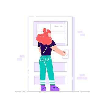문 손잡이 잡고 여성 캐릭터입니다. 건물에 들어가기 프리미엄 벡터