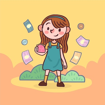 Female character holding a bag of coins