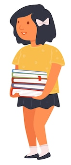 Female character holding books, isolated schoolgirl with textbooks. cute girl walking to school, student in library preparing for exam. homework of pupil learning from notebooks vector in flat