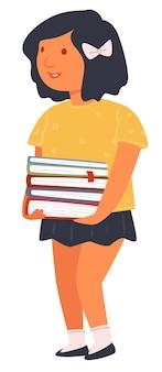 本を持っている女性キャラクター、教科書を持つ孤立した女子高生。学校に歩いているかわいい女の子、試験の準備をしている図書館の学生。フラットでノートブックベクトルから学ぶ生徒の宿題
