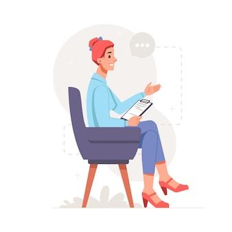 여성 캐릭터 클립 보드 의자에 앉아 말하기 심리학자 여자를 들고