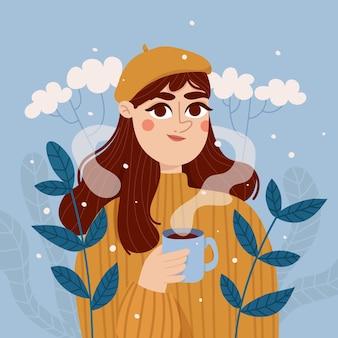 Женский персонаж держит чашку кофе
