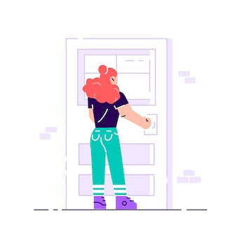 Female character holding a door knob. entering the building.
