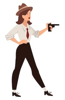 총을 들고 있는 여성 캐릭터, 모자를 쓰고 무기를 든 정장을 입은 우아한 여성. 사립 탐정 또는 스파이, 범죄자 또는 산적 인물. 빈티지 갱스터 또는 소녀 탐정. 평면 스타일의 벡터