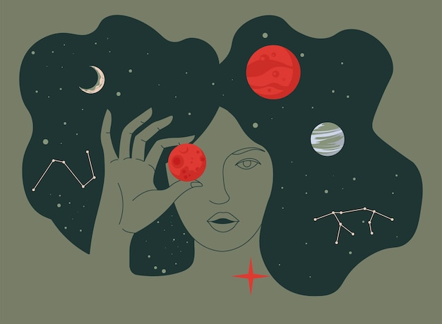 Female character holding planets, surrounded by stars and celestial bodies. lady portrait in outer space. exploration or education of astronomy and astrology. cosmos and universe in flat style