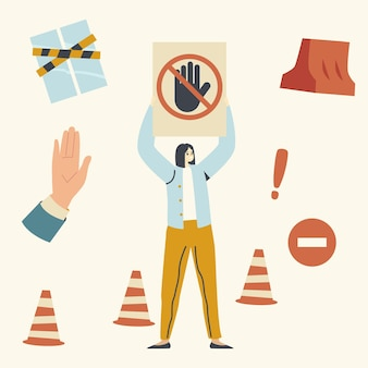 Female character holding stop signal with crossed hand, woman protect closed territory. car parking problem, no passage through protected area. traffic cones palm gesturing. linear vector illustration