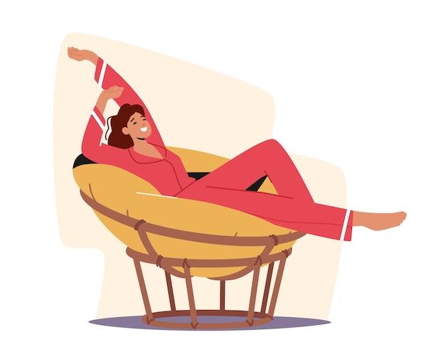 快適な柔らかい丸い椅子でストレッチとリラックスのパジャマの女性キャラクター