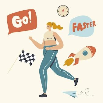スポーツウェアランニングマラソンの女性キャラクター。