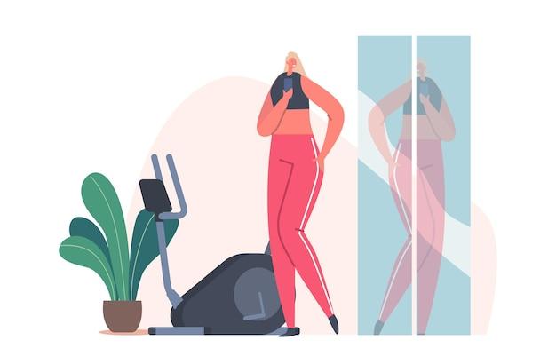 체육관에서 셀카를 찍는 운동복의 여성 캐릭터. 스마트폰에 거울 반사의 스포티 한 소녀 촬영 사진. sportswoman 휘트니스 훈련, 운동, 건강한 라이프 스타일. 만화 벡터 일러스트 레이 션