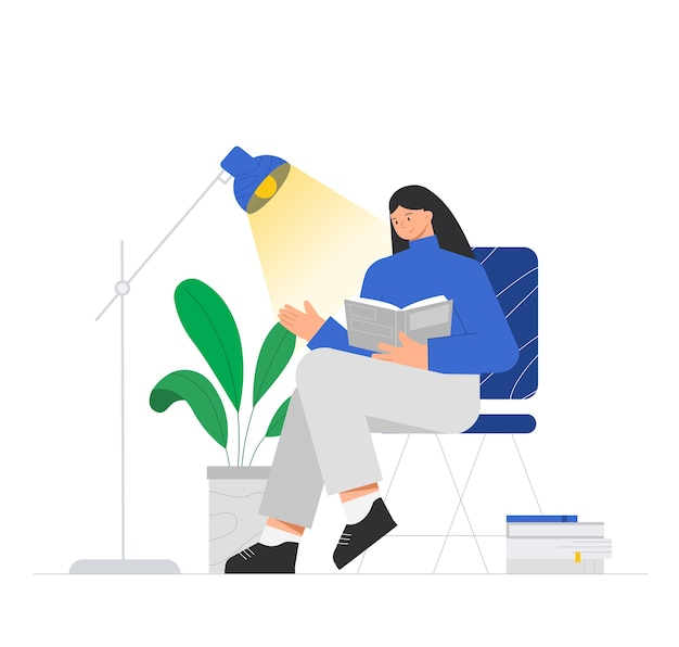 Female character is sitting on a chair and reading a book, near a lamp, potted flower and a large stack of books.