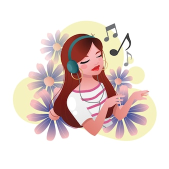 A female character is wearing headphone and listening to music