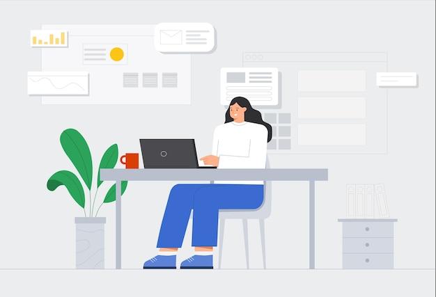 여성 캐릭터는 자신의 노트북에서 일하고 있습니다. 현대 오피스 그래픽, 배경에 아이콘의 워크 플로.