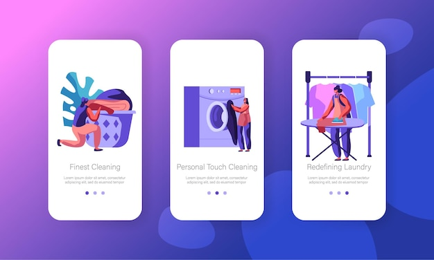Female character in laundry concept. mobile app page onboard screen set