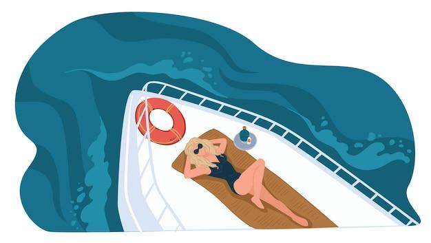 Женский персонаж, лежащий на судне, летний отдых и отдых на яхте. персонаж загорает на надувном спасательном круге