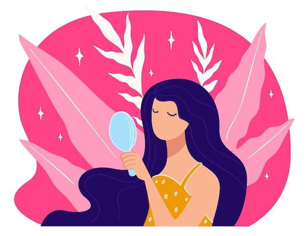鏡を見ている女性キャラクター、長い髪の女性。ファッションとスタイル、化粧品、スキンケアの広告。コマーシャル、エレガンス、女性らしさの美しいモデル。フラットのベクトル