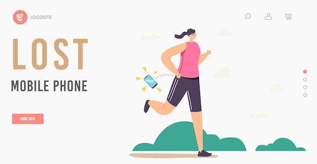 Female character lose smartphone during jogging exercise in park landing page template. sportswoman ignore mobile phone fall down on ground during running activity. cartoon people vector illustration