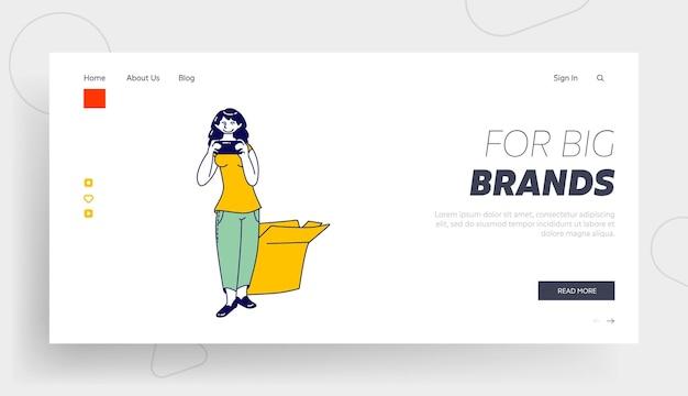 Женский персонаж имеет опыт вещания для шаблона целевой страницы косметического продукта.