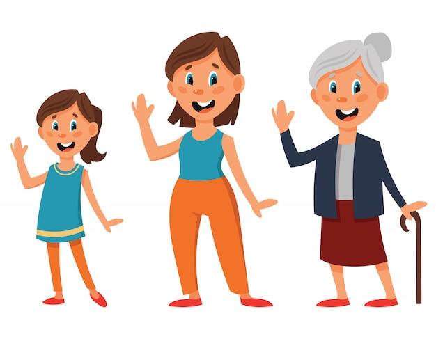 다른 연령대의 여성 캐릭터. 소녀, 여자와 만화 스타일의 늙은 여자.