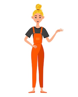 Female character in overalls on white