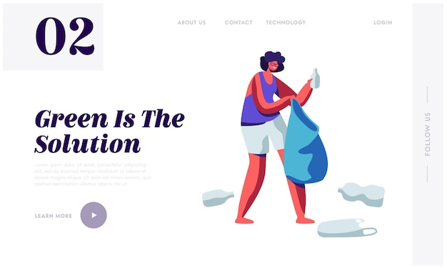 Female character picking up plastic trash and litter into bag. stop pollution concept, website landing page template