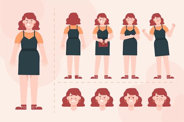 Женский персонаж представляет пакет иллюстрации