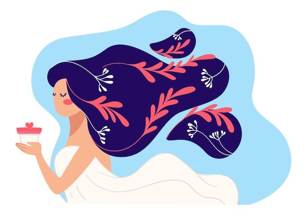 건강한 치료를 위해 샴푸나 컨디셔너를 제시하는 여성 캐릭터. 부드럽고 부드러운 세척. 긴 머리를 가진 아가씨. 장식 단풍과 소녀 헤어스타일에 나뭇잎. 평면 스타일의 벡터
