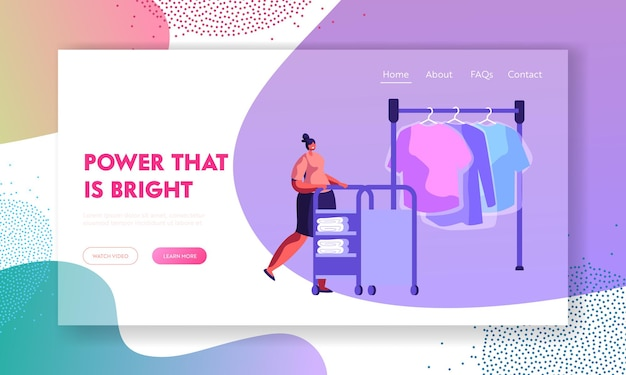 Female character pushing trolley with clean clothing in professional public or hotel laundry. website landing page template