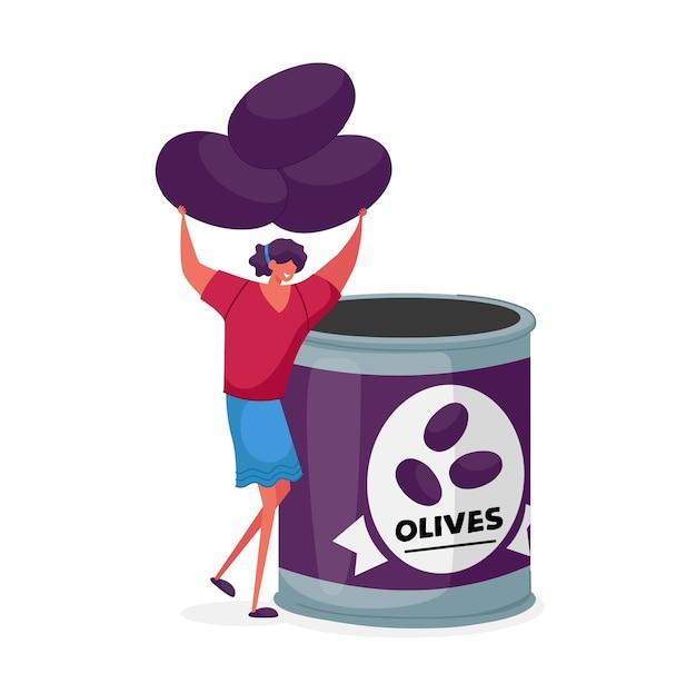 女性キャラクターは缶詰の瓶の容器に新鮮なオリーブを入れます