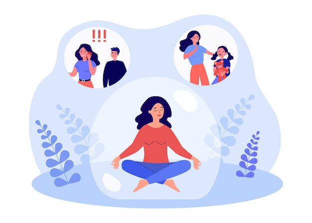 Female character relieving stress by meditating inside bubble. woman relaxing after dealing with jealous husband and sad kid flat vector illustration. meditation, mental health concept for banner