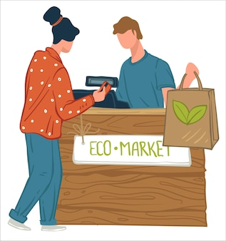 Female character shopping in eco market with ecologically friendly products and healthy organic food products. woman standing by counter talking to cashier. care for planet. vector in flat style