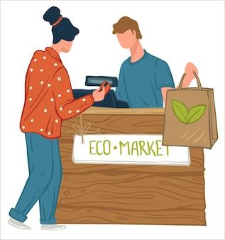 環境にやさしい商品と健康的な有機食品を使ったエコマーケットでの女性キャラクターの買い物。レジ係と話しているカウンターのそばに立っている女性。惑星の世話。フラットスタイルのベクトル