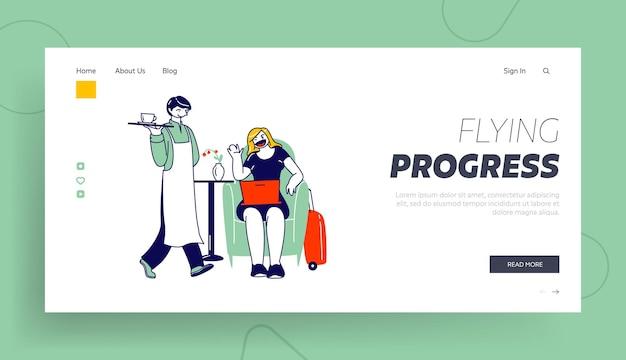 비행기 탑승 방문 페이지 템플릿을 기다리는 공항의 비즈니스 라운지에 앉아 여성 캐릭터.