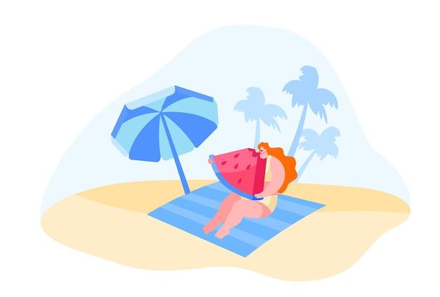 Женский персонаж сидит на коврике на песчаном пляже под зонтиком и ест арбуз